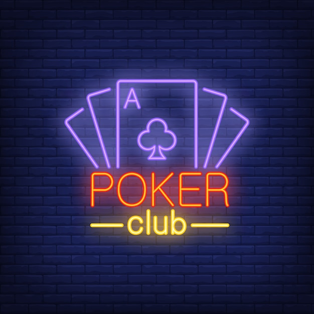 Lettres de cartes de poker avec des cartes à jouer. Icône de néon sur fond de briques. Vecteur gratuit