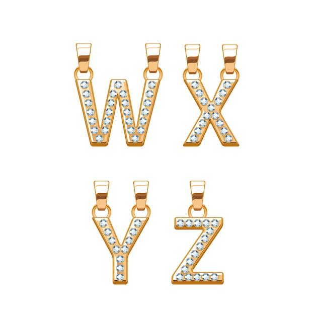 Lettres Dorées Avec Pendentifs Abc Diamants Pierres Précieuses. Illustration. Bon Pour Les Bijoux. Vecteur Premium