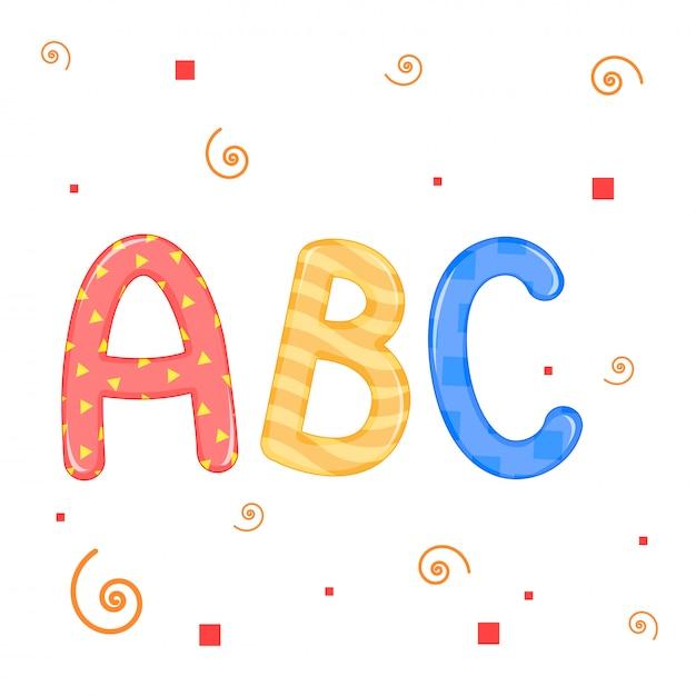 Lettres d'enfants graphiques vectoriels fond blanc abc Vecteur Premium
