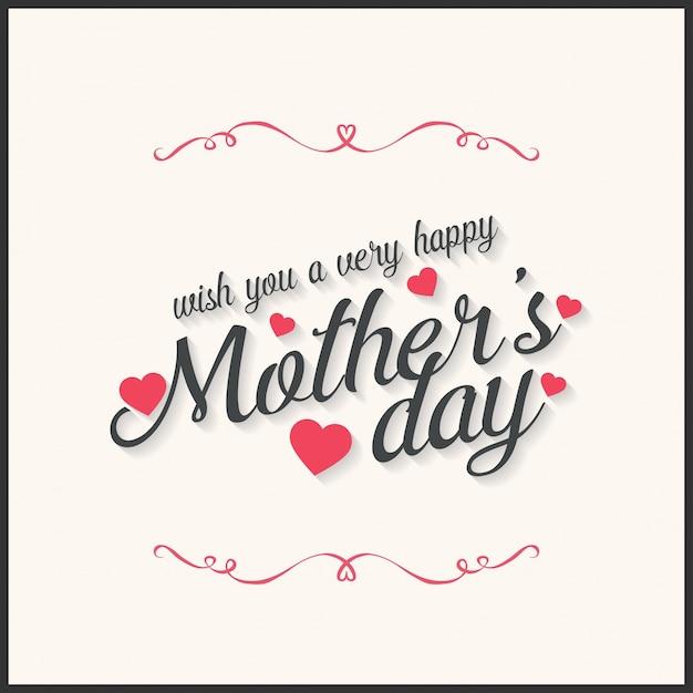 Lettres heureuses de la fête des mères Illustration vectorielle calligraphie artisanale Carte du jour des mères Vecteur gratuit