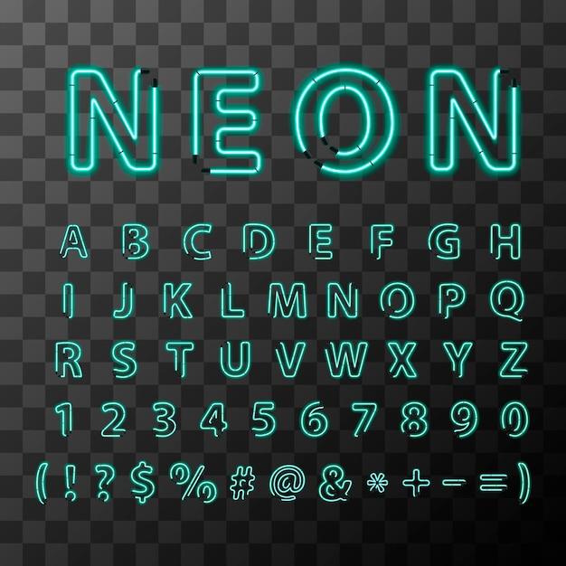 Lettres lumineuses réalistes au néon, police complète de l'alphabet latin Vecteur Premium