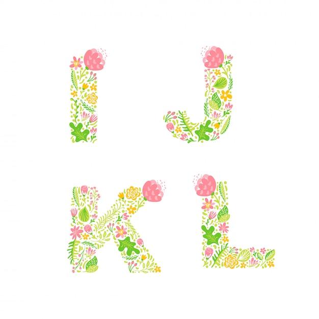 Lettres Majuscules Avec Des Fleurs Vecteur Premium