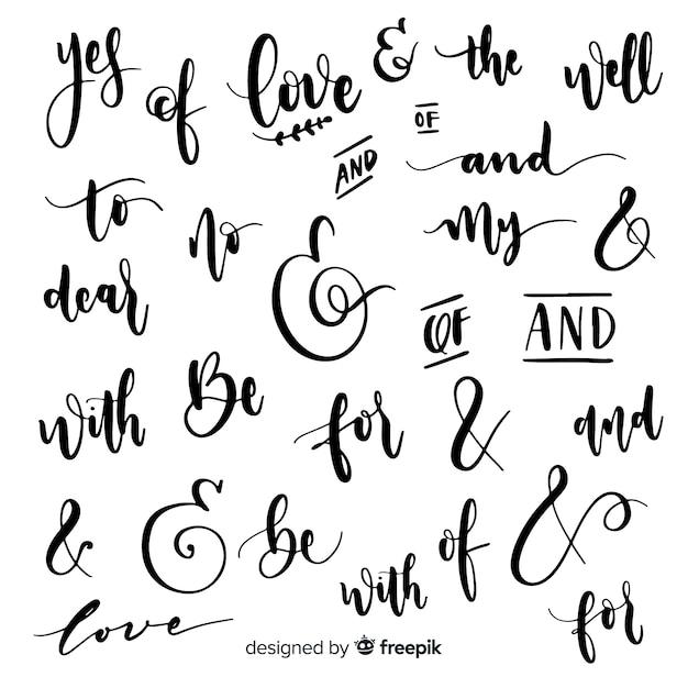 Lettres de mariage et mots clés Vecteur gratuit