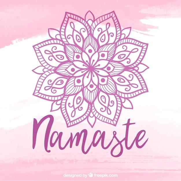 Lettres de namaste avec mandala Vecteur gratuit