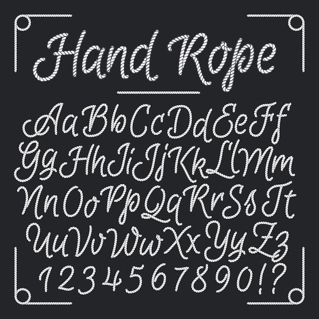 Lettres Nautiques De La Corde à Main. Alphabet De Fil De Vecteur. Illustration De Ficelle Abc, Alpine De Mer Vintage Vecteur Premium