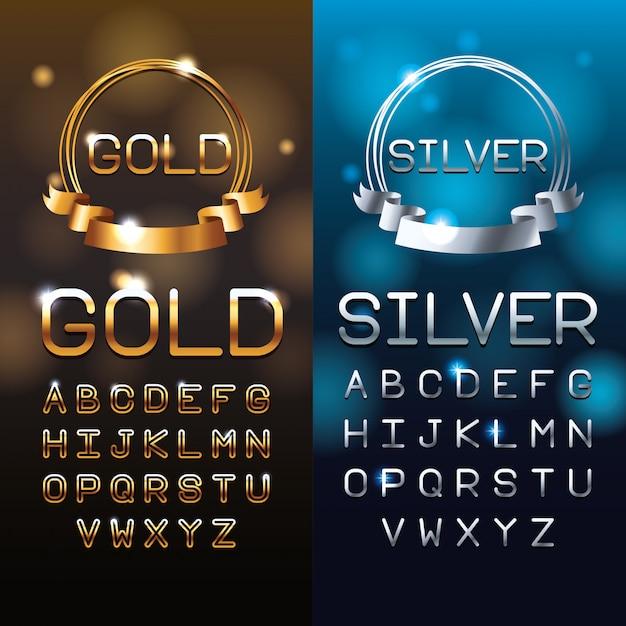 Lettres d'or et d'argent Vecteur Premium