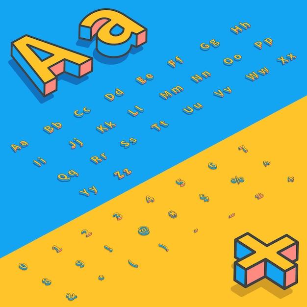 Lettres stylisées de police isométrique 3d Vecteur Premium