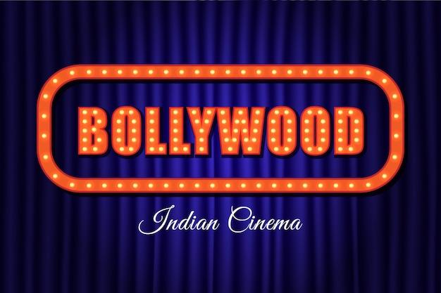 Lettres vintage de cinéma indien de bollywood Vecteur Premium