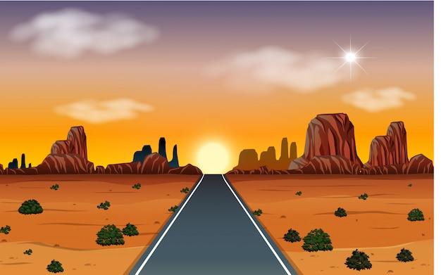 Lever du soleil dans le désert avec scène de route Vecteur Premium