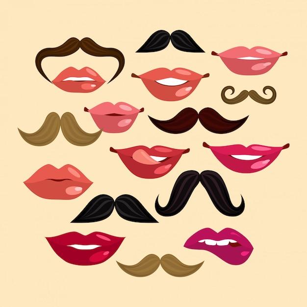 Lèvres et moustaches Vecteur Premium