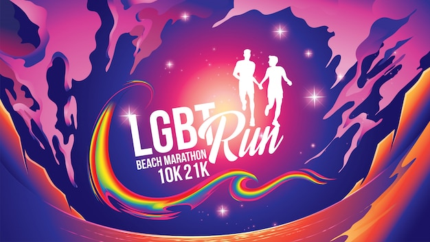 Lgbt marathon près de la plage thème Vecteur Premium