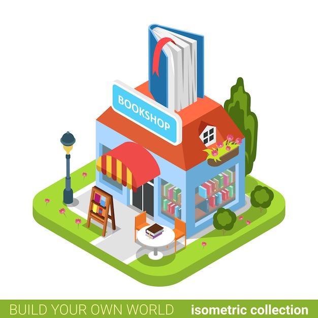 Librairie Livre Construction Boutique Immobilier Concept Immobilier. Vecteur Premium