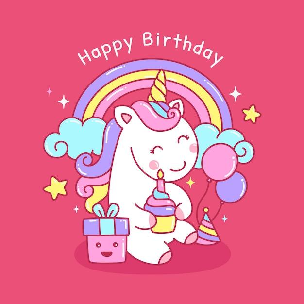 Licorne Arc-en-ciel Mignon Coloré Pour Illustration De Carte De Voeux D'anniversaire Vecteur Premium