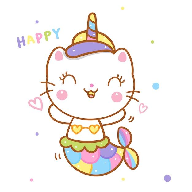 Licorne de chat mignon dites dessin animé sirène émotion heureuse Vecteur Premium