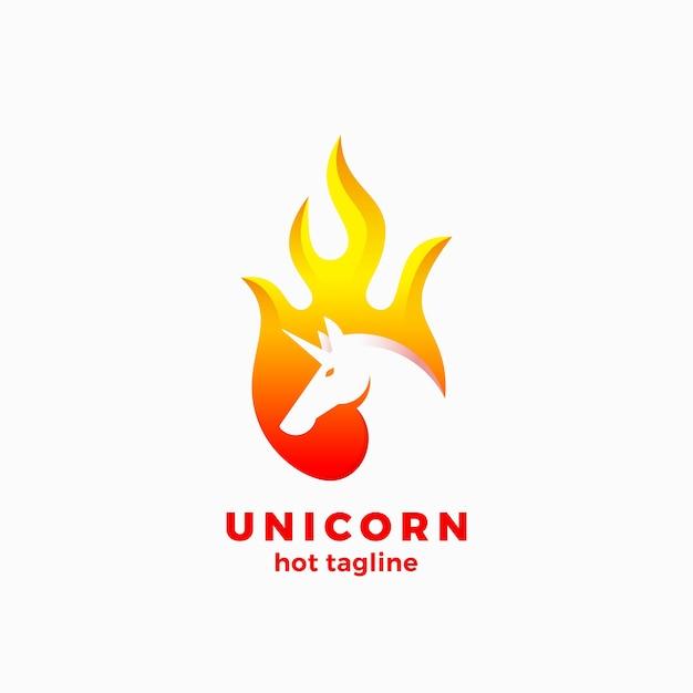 Licorne Dans Un Modèle De Signe, Symbole Ou Logo Abstrait De Forme De Flamme. Vecteur gratuit
