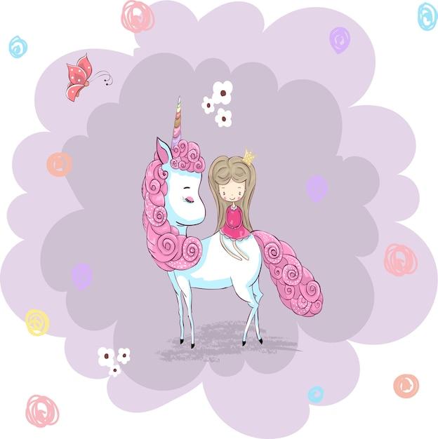 Licorne de dessin animé mignon et princesse dessinés à la ...