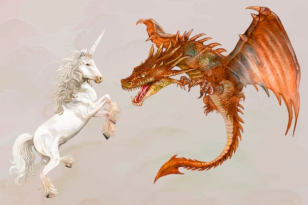 Licorne et un dragon Vecteur gratuit