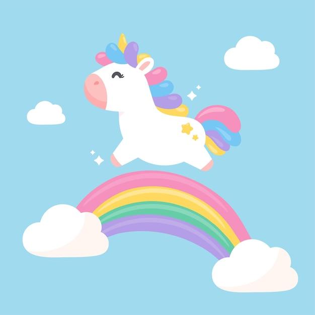 Une Licorne Fantastique Sautant Sur Un Arc-en-ciel Pastel Avec Plaisir Vecteur Premium