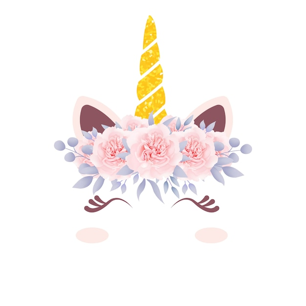 Licorne florale mignonne Vecteur Premium