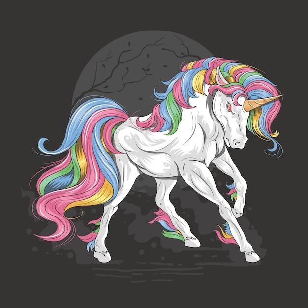 Licorne full color rainbow majestueux Vecteur Premium