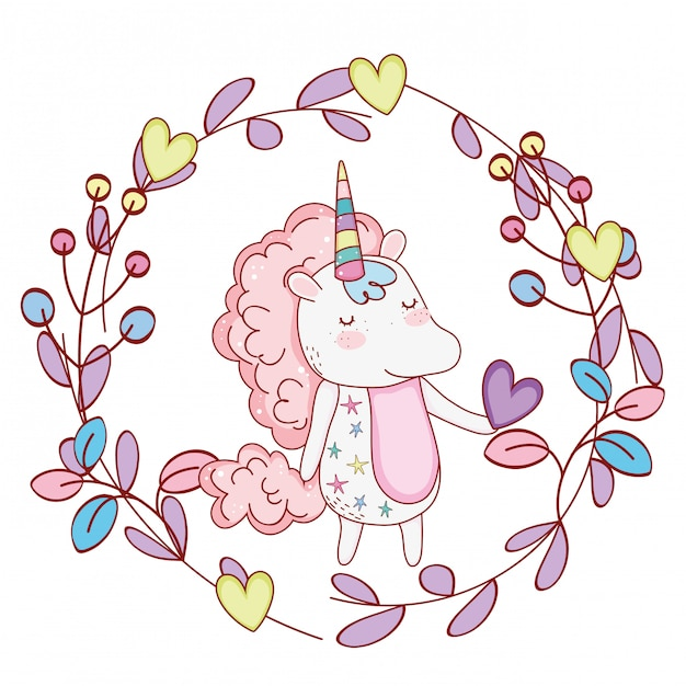 Licorne à l'intérieur de la couronne de dessins animés mignons Vecteur Premium