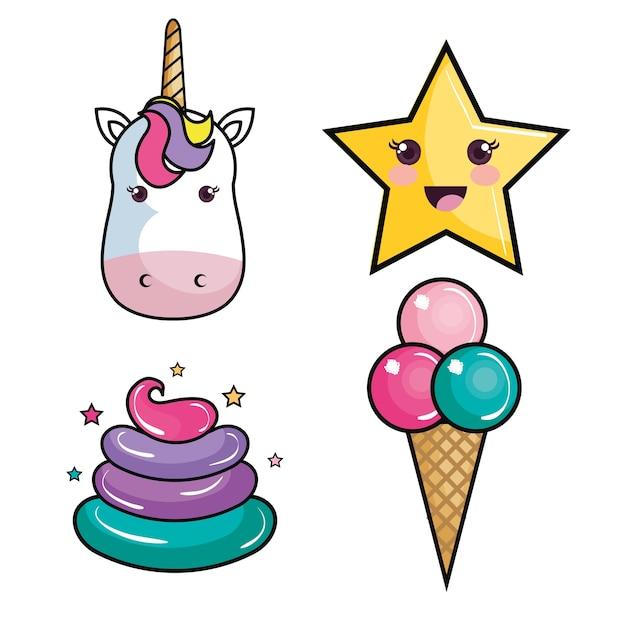 Licorne Kawaii Star Crème Colorée Et Crème Glacée