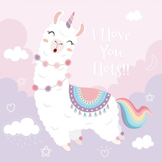 Licorne de lama mignon et arc-en-ciel flottant dans le ciel. Vecteur Premium