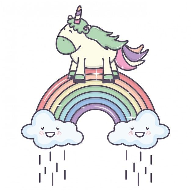 Licorne mignonne adorable avec des nuages pluvieux et arc en ciel Vecteur gratuit