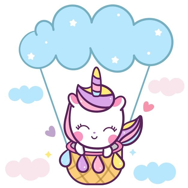 Licorne mignonne, ballon de poney dans le ciel Vecteur Premium