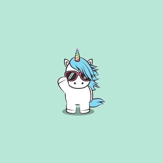 Licorne mignonne avec caricature de lunettes de soleil, illustration vectorielle Vecteur Premium