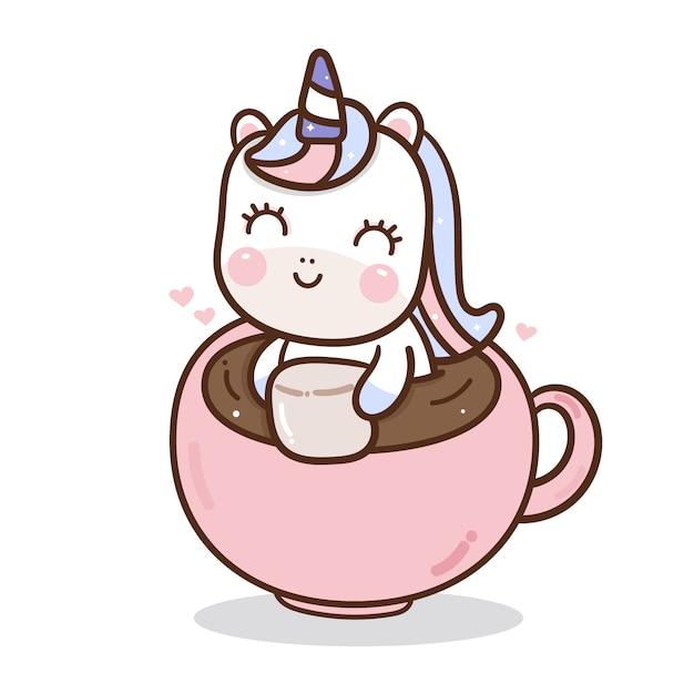 Licorne mignonne dans une tasse à café Vecteur Premium