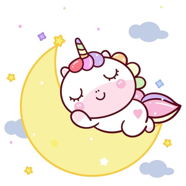 Licorne mignonne doux rêve sur la lune Vecteur Premium