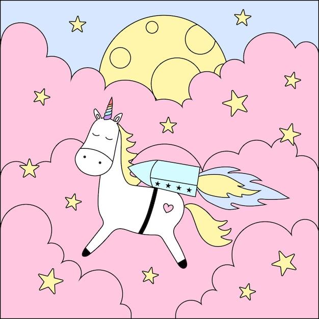 Licorne mignonne, nuages, lune, étoiles. Vecteur Premium
