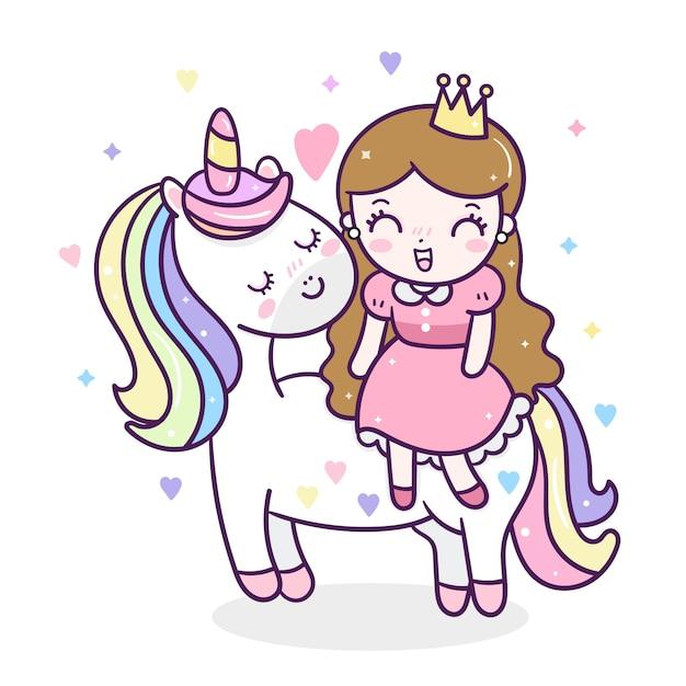 Licorne mignonne et petite princesse Vecteur Premium