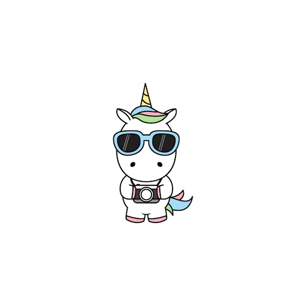Licorne mignonne avec le vecteur de dessin animé de caméra Vecteur Premium