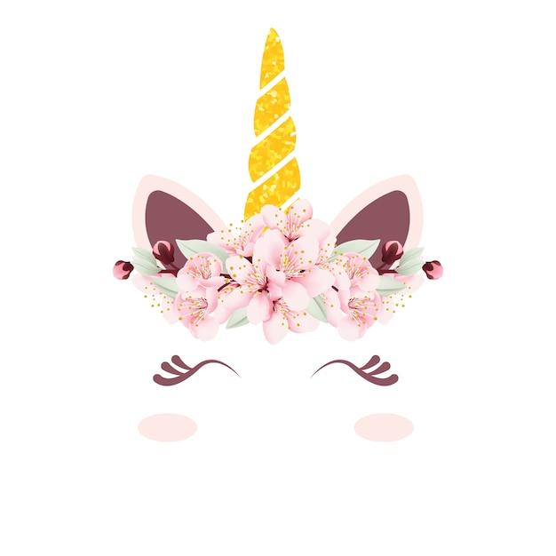 Licorne mignonne vector avec couronne florale Vecteur Premium