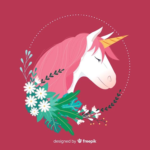 Licorne plate avec des feuilles et des fleurs Vecteur gratuit