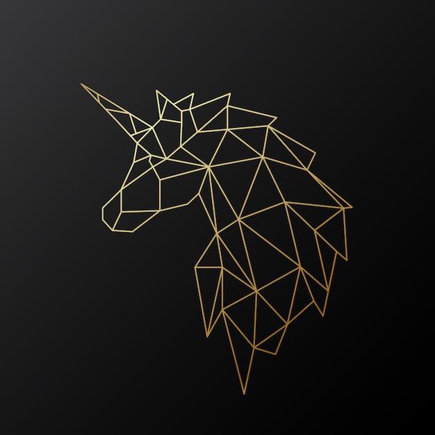 Licorne Polygonale Dorée. Vecteur Premium