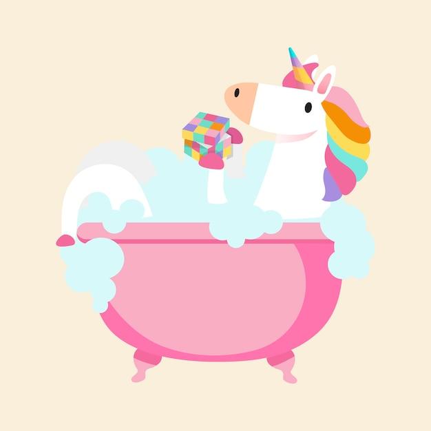 Licorne prenant un vecteur de bain Vecteur gratuit