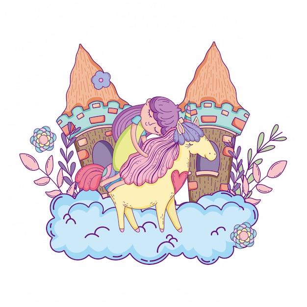 Licorne et princesse avec château dans les nuages Vecteur Premium