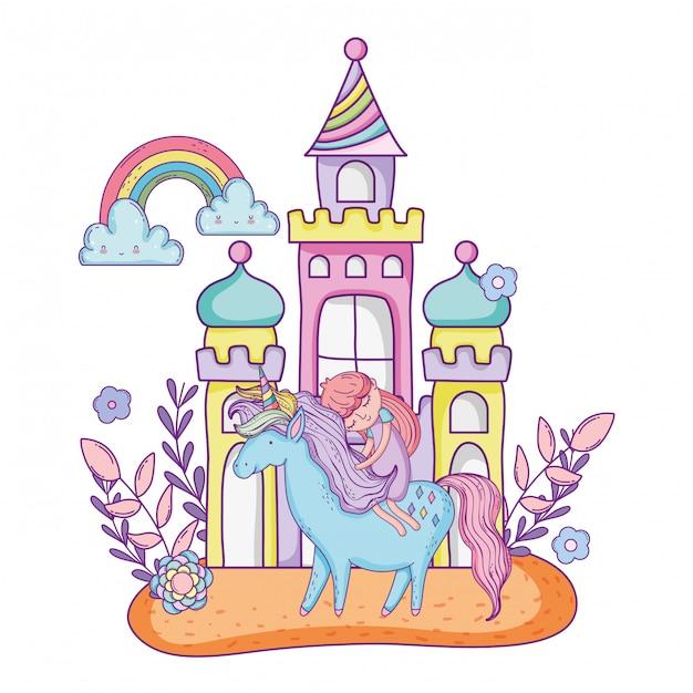 Licorne et princesse avec château dans le paysage Vecteur Premium