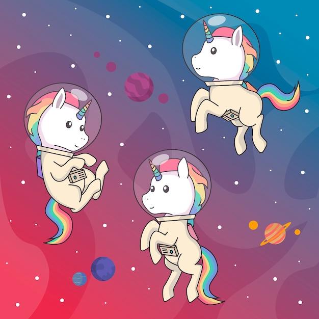 Licornes De L'espace Vecteur Premium