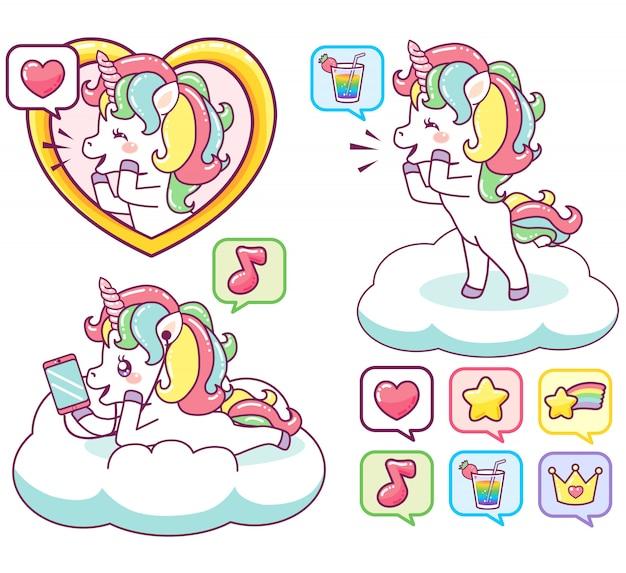 Licornes joyeuses colorées envoyant des messages, écoutant de la musique Vecteur Premium