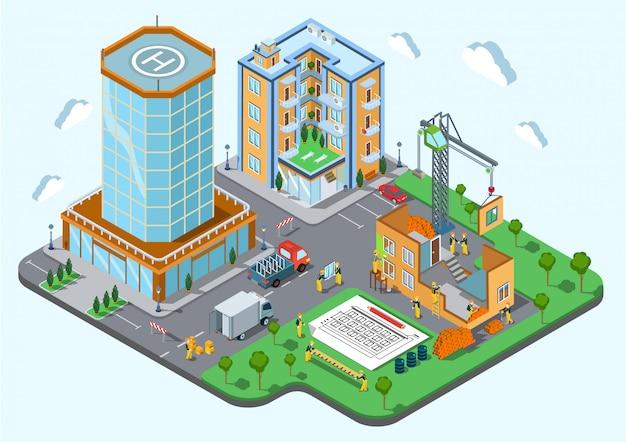 Lieu De Construction Dans L'illustration Isométrique Du Concept De Ville Les Constructeurs Avec Un Plan D'architecture De Grue Construisent Une Maison Publique De Construction Inachevée. Vecteur gratuit
