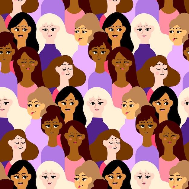 Lieu De Motif Bondé Avec Des Visages De Femmes Vecteur gratuit