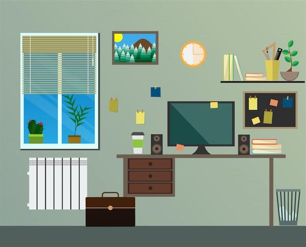 Lieu de travail design plat moderne dans la chambre. Vecteur Premium