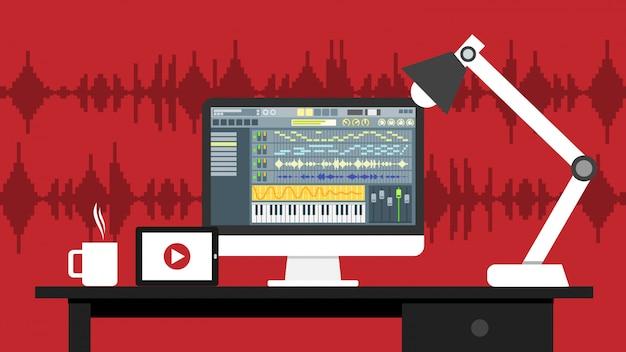 Lieu de travail du logiciel d'interface éditeur audio et vidéo sur écran d'ordinateur Vecteur Premium