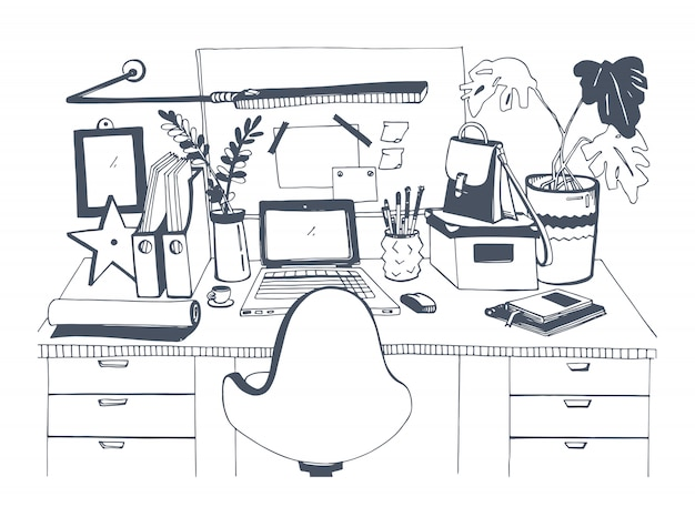 Lieu De Travail Moderne Créatif Avec Ordinateur Portable, Illustration Dessinée à La Main, Style De Croquis. Vecteur Premium