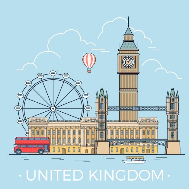 Lieux célèbres du royaume-uni. Vecteur gratuit