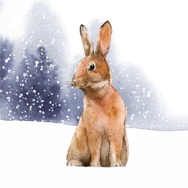 Lièvre sauvage au pays des merveilles de l'hiver Vecteur gratuit